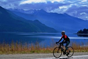 Cyclist north end of Kootenay Lake